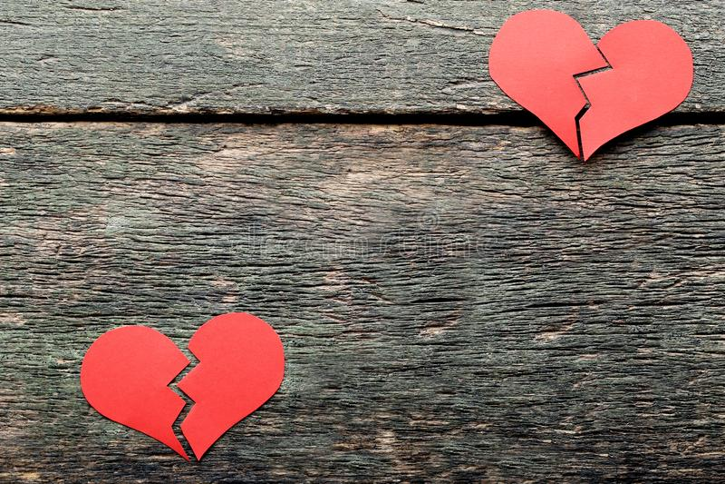 Broken red hearts royalty free stock photo