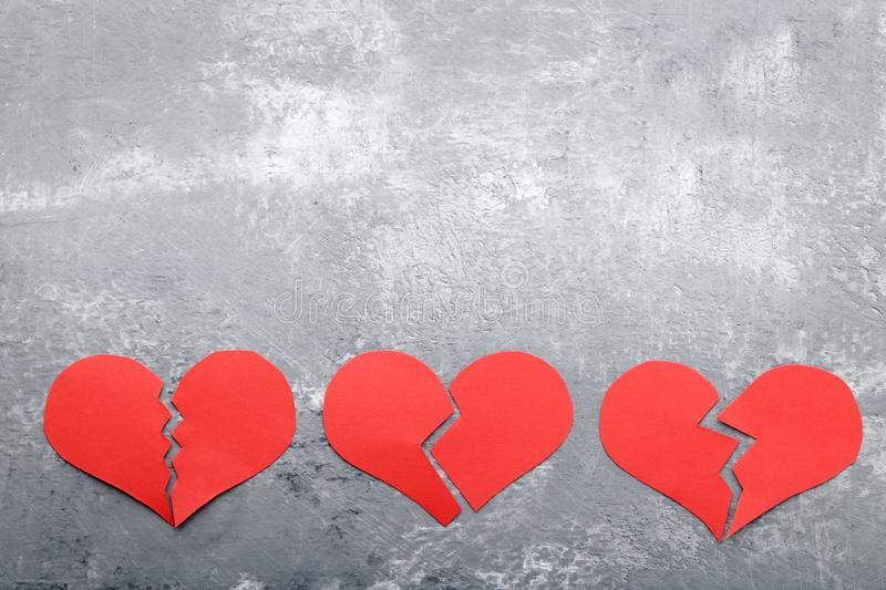 Broken red hearts royalty free stock photo