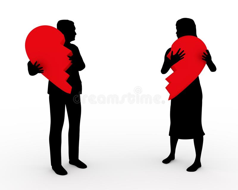 Broken Relationship. Illustration of a couple holding two parts of the same heart vector illustration