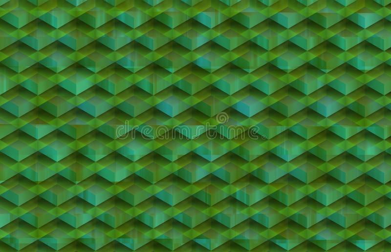 Broken relief with shadows and greenih background. Horizontal background with lines and broken geometric shapes and with architectural and decorative shadows vector illustration