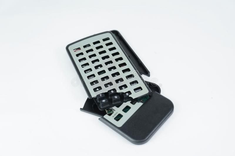 Broken Remote Control isolated on white background stock photography