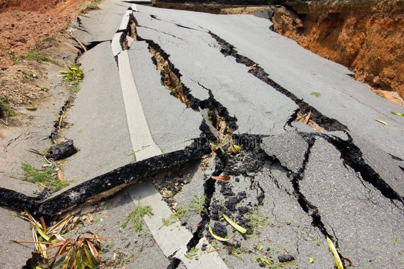 Broken road by an earthquake in Chiang Rai, thailand royalty free stock photos
