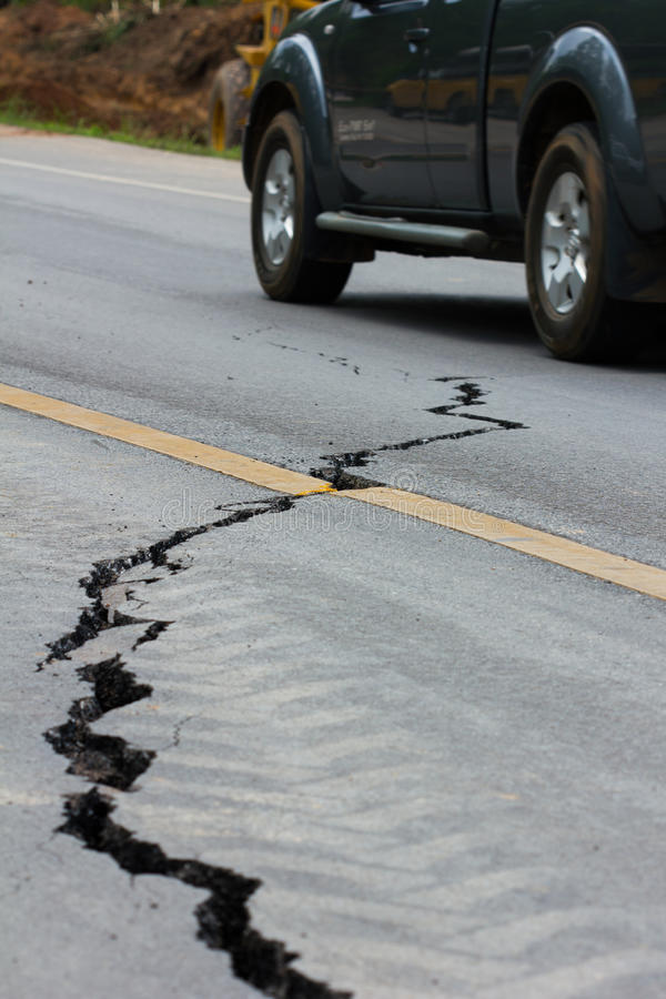 Broken road by an earthquake in Chiang Rai, thailand royalty free stock images