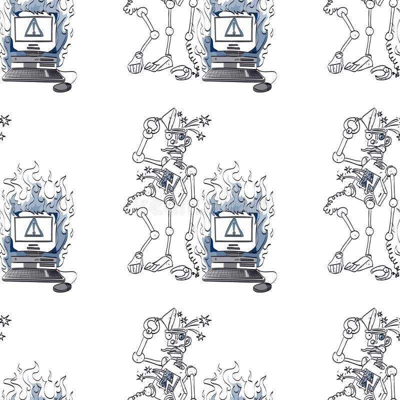 Broken robot and broken computer seamless pattern vector illustration