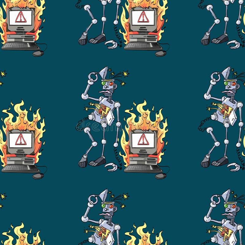 Broken robot and broken computer seamless pattern stock illustration