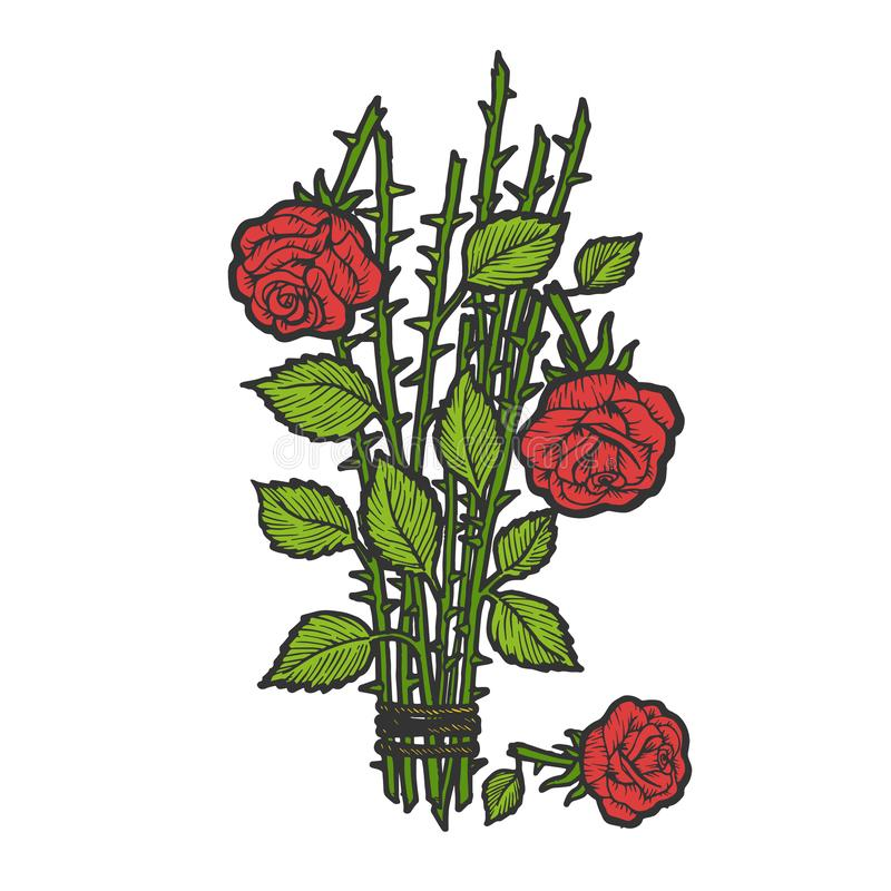 Broken roses color sketch engraving vector. Broken roses bouquet flower color sketch engraving vector illustration. Scratch board style imitation. Black and vector illustration