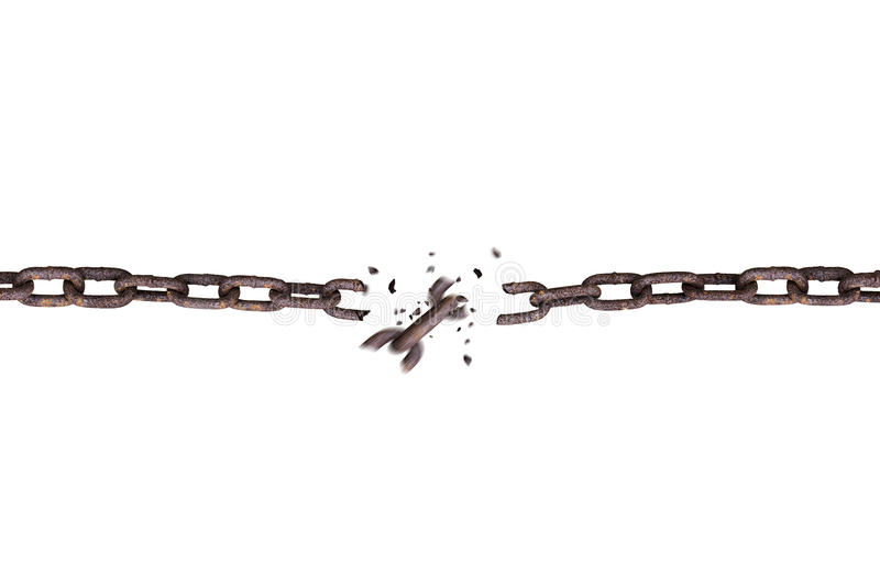 Broken rusty iron chain isolated on white. Background royalty free stock images