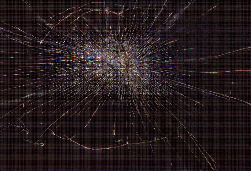 Broken screen. Cracked glass of broken lcd matrix display screen, macro royalty free stock photo
