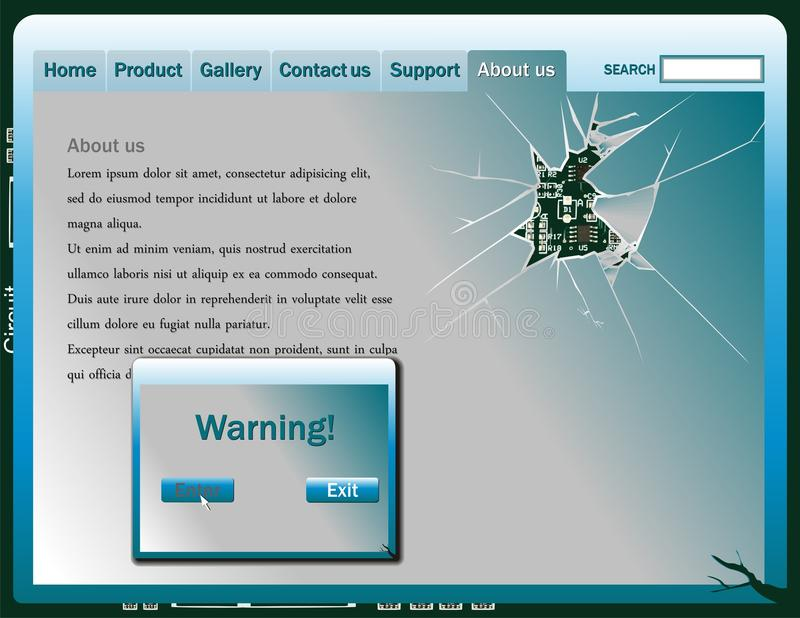 Broken screen web design elements. Vector illustration vector illustration