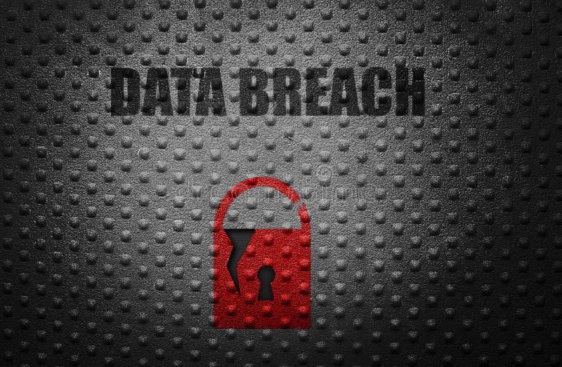 Data breach concept. Broken security lock with Data Breach message royalty free stock photos