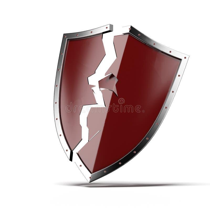 Broken security shield vector illustration