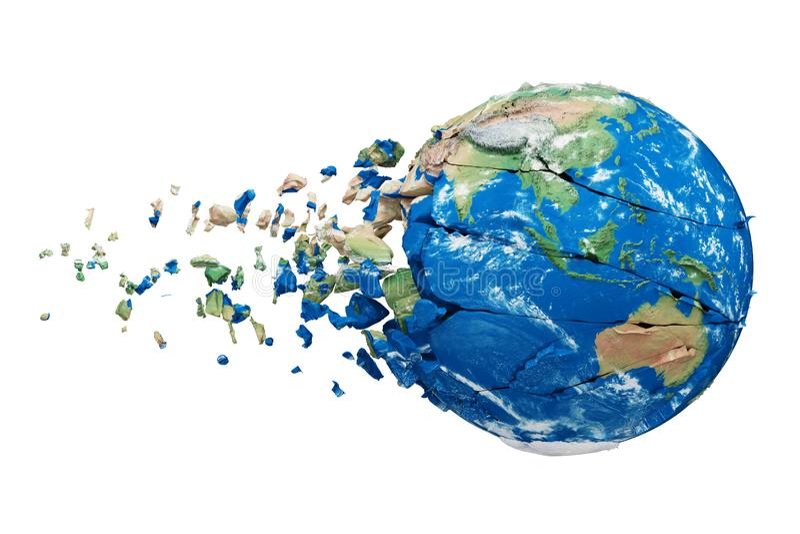 Broken planet with bitcoin vector illustration design.