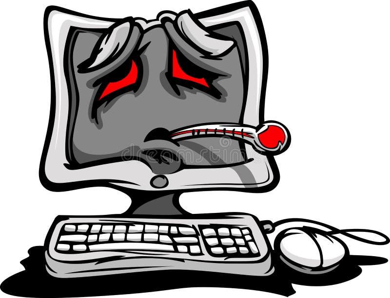 broken sjuk tecknad filmdator ner stock illustrationer