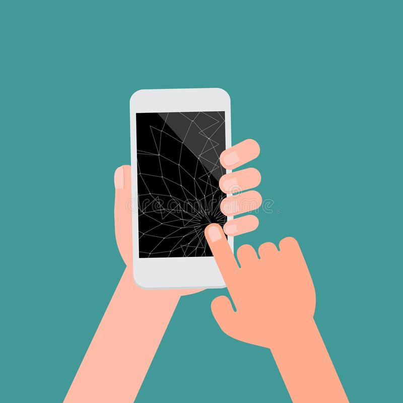 Broken smartphone with black screen and isotad green background.Crashed cell phone flat cartoon style vector illustration