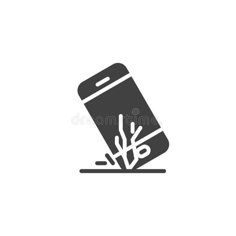 Broken smartphone screen vector icon. Filled flat sign for mobile concept and web design. Mobile phone falls glyph icon. Symbol, logo illustration. Vector royalty free illustration