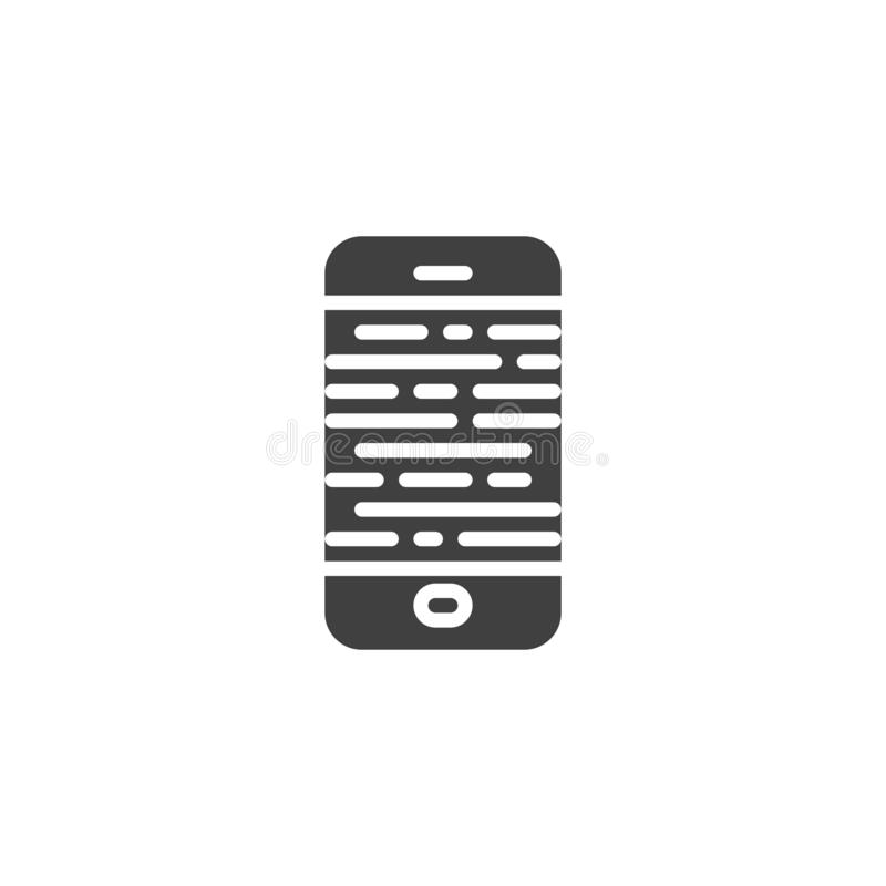 Broken smartphone screen vector icon. Filled flat sign for mobile concept and web design. Mobile phone display repair glyph icon. Symbol, logo illustration stock illustration
