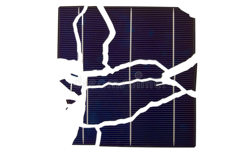 Broken Solar Cell. A Broken Solar Cell with isolated background royalty free stock photos