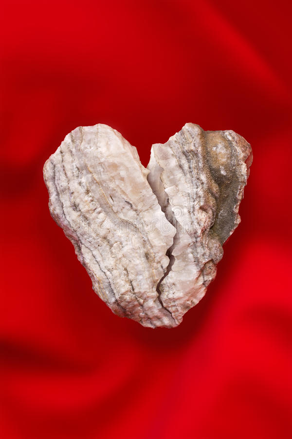 Broken stone heart royalty free stock photo