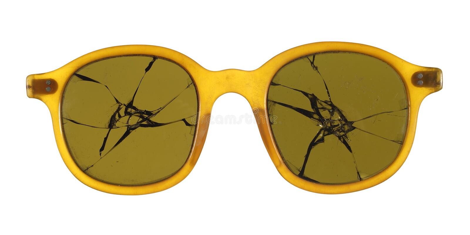 Broken sunglasses fashioned from plastic isolated on white background. royalty free stock photos