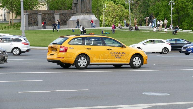 Broken taxi car on Borovitskaya square, Moscow royalty free stock images