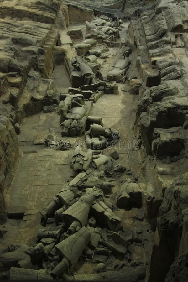 Broken Terracotta Warriors. China, Xi`an: Archaeological excavations of the clay army of the emperor Qin Shi Huang. The terracotta army is a figure of ancient stock image