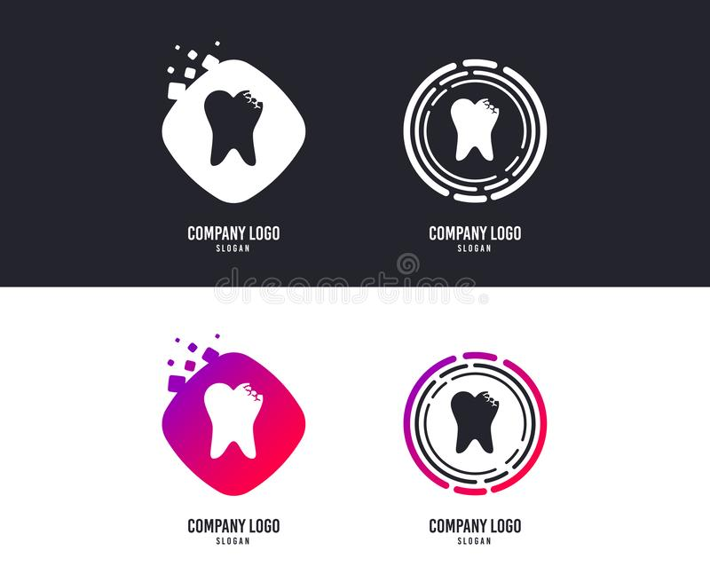 Broken tooth sign icon. Dental care symbol. Vector. Logotype concept. Broken tooth icon. Dental care sign symbol. Logo design. Colorful buttons with icons stock illustration