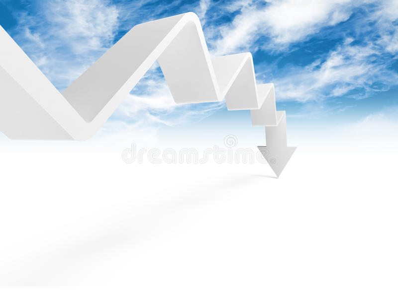 Broken trend line with arrow on the end is going down. 3d illustration with cloudy sky photo background stock illustration