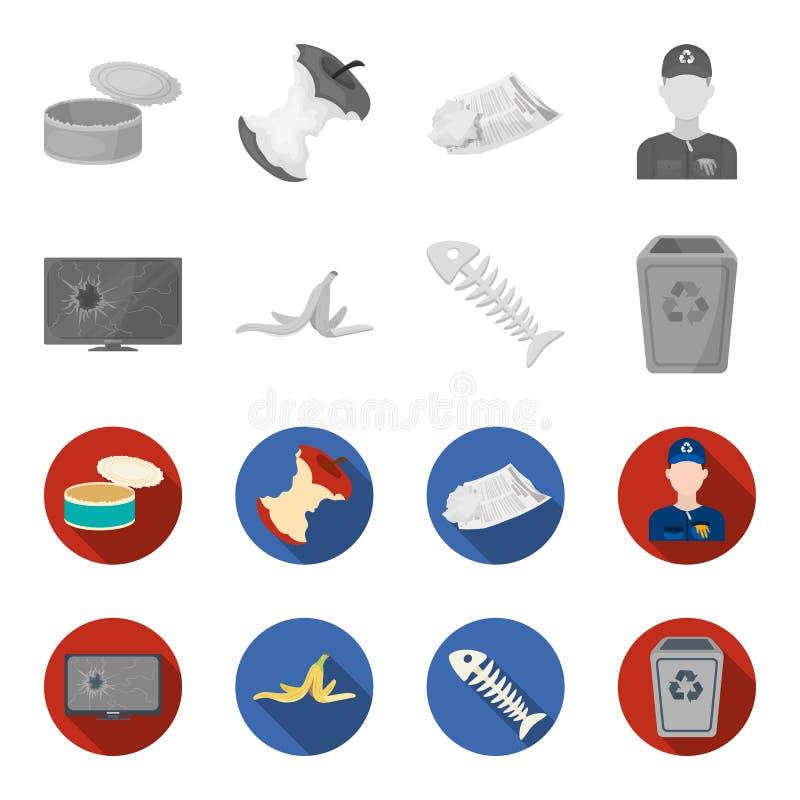 Broken TV monitor, banana peel, fish skeleton, garbage bin. Garbage and trash set collection icons in monochrome,flat. Style vector symbol stock illustration royalty free illustration