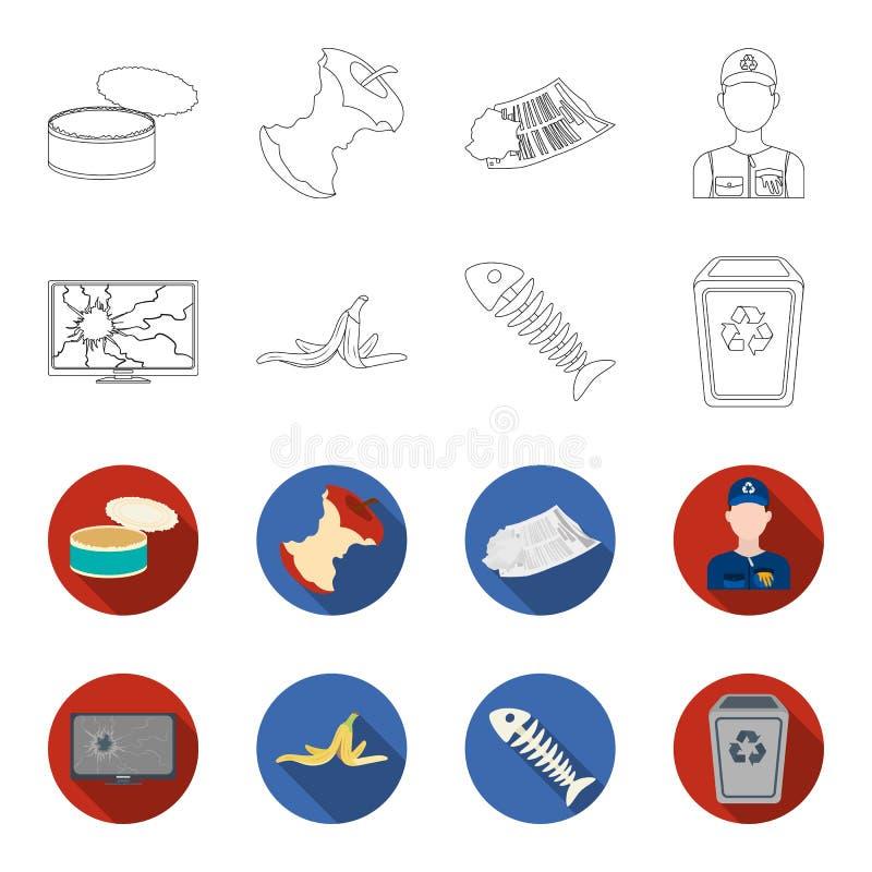 Broken TV monitor, banana peel, fish skeleton, garbage bin. Garbage and trash set collection icons in outline,flet style. Vector symbol stock illustration royalty free illustration
