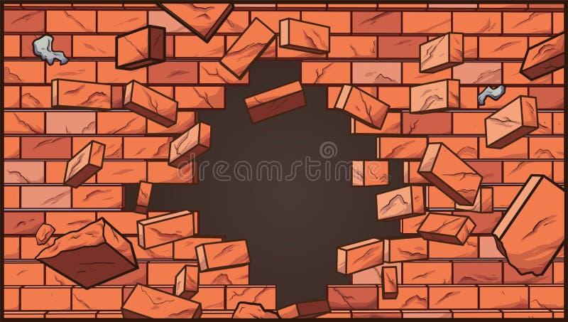 broken vägg stock illustrationer