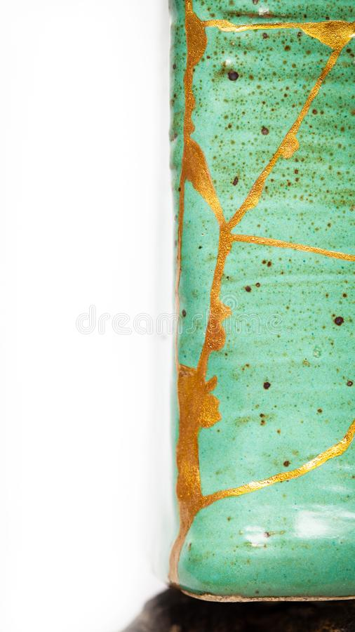 Square Turquoise Kintsugi Vase royalty free stock photos