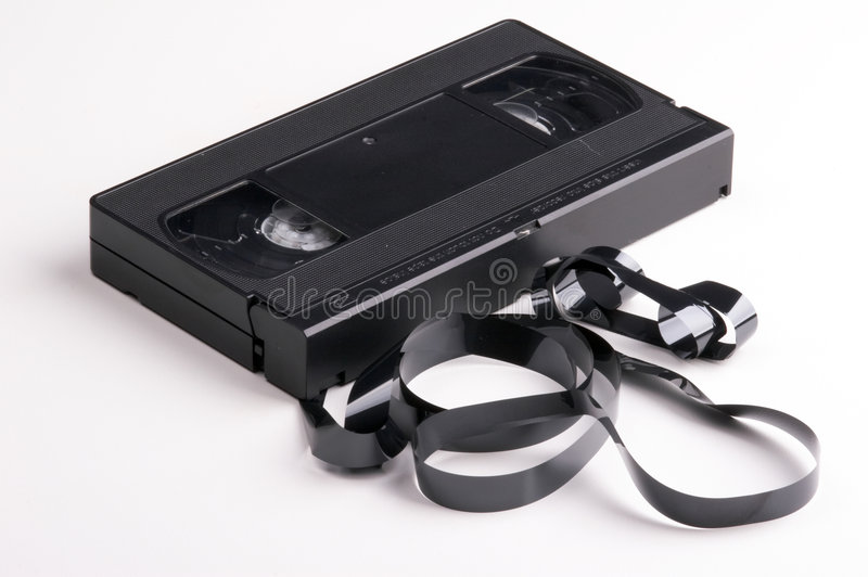 Broken video cassette. On white background stock photo