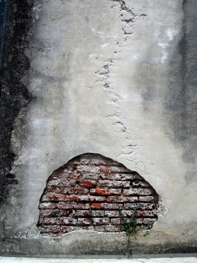 Broken Wall. Old wall broken because of time royalty free stock image