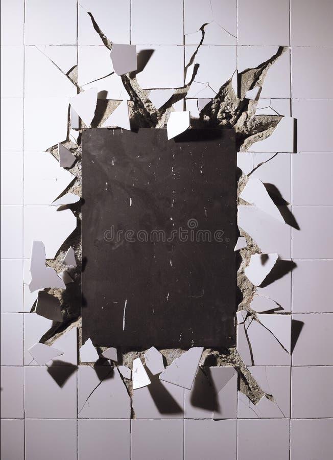 Broken wall tiles stock photography