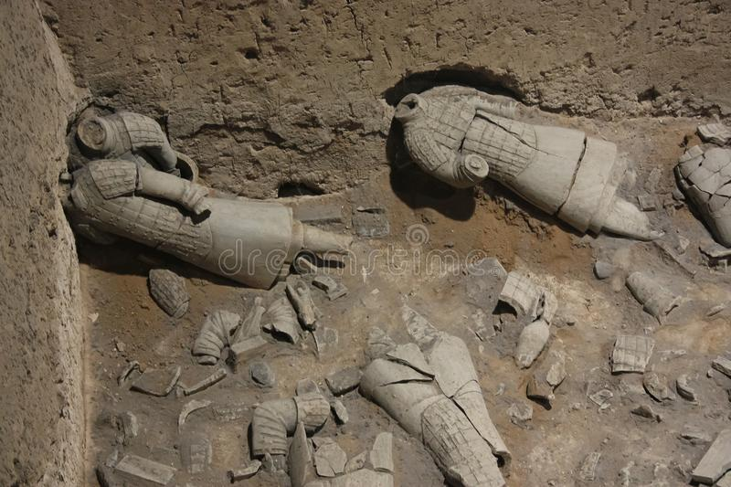 Broken Warriors, the terracotta army royalty free stock image