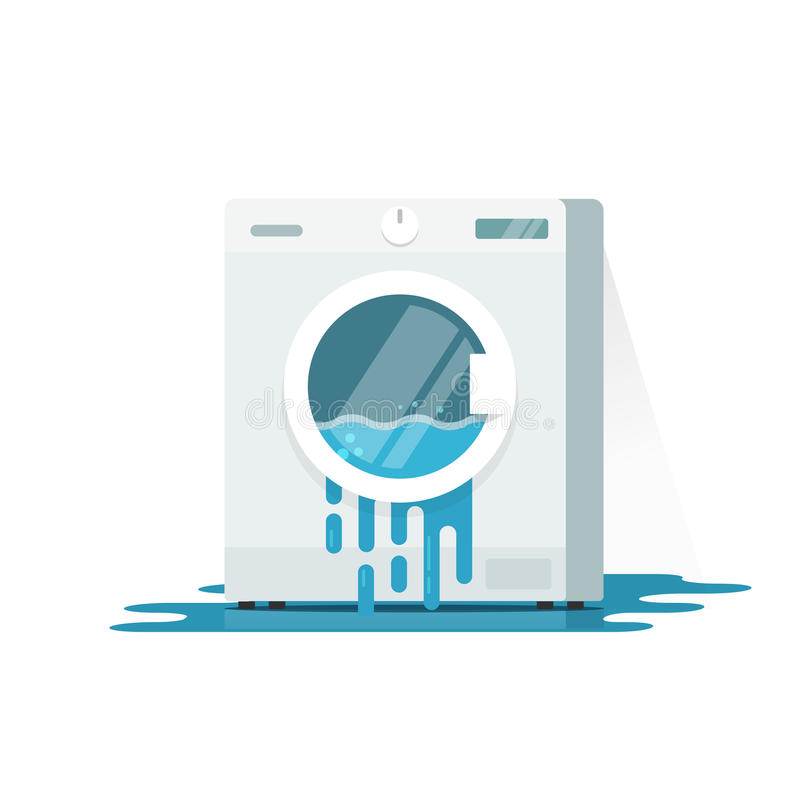 Broken washing machine vector illustration, flat cartoon damaged washer. With flowing water on floor need repair isolated on white background stock illustration