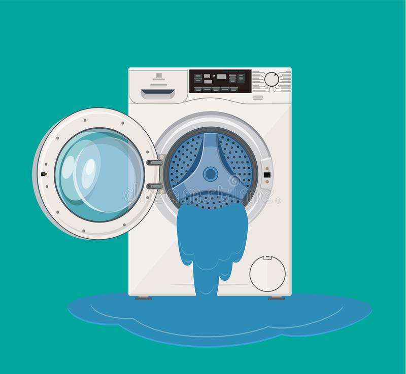Broken washing machine from which water flows. Calling the master stock illustration