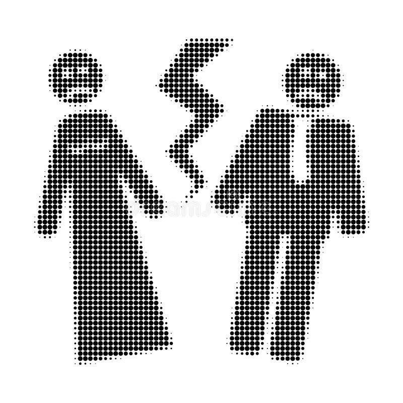 Broken Wedding Halftone Dotted Icon royalty free illustration