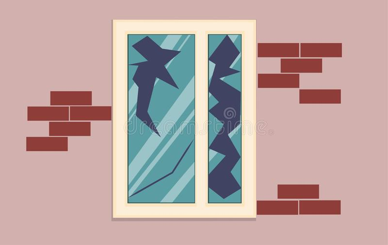 Broken window of an abandoned house. royalty free illustration