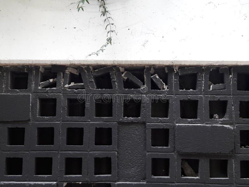 Broken wall structures in Tecnologico de Monterrey university in Santa Fe in Mexico City Earthquake. Broken window panels in Tecnologico de Monterrey university royalty free stock image