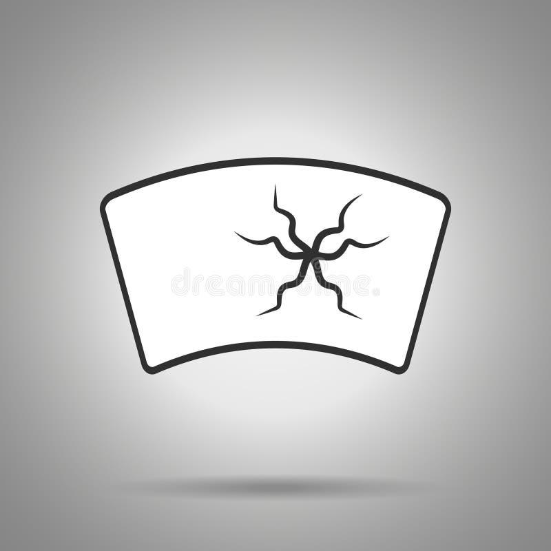 broken windshield icon . windshield with huge crack royalty free illustration