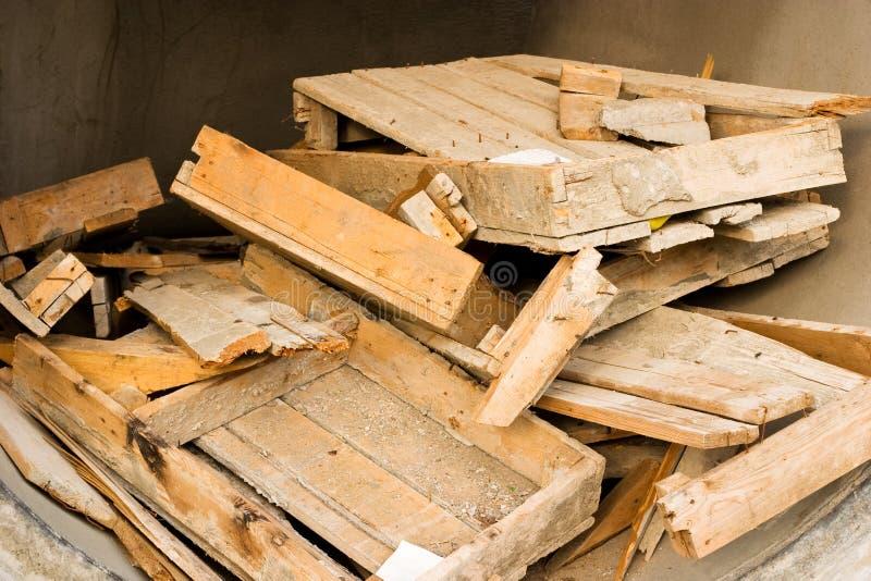 Broken wooden boxes
