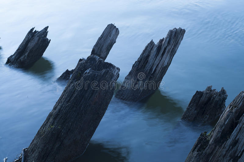 The broken wooden ship royalty free stock photo