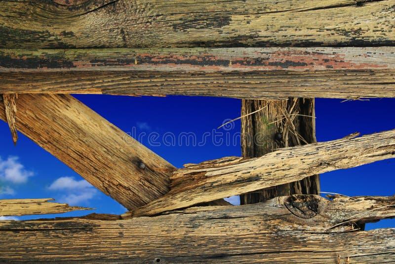 Broken wooden wall royalty free illustration