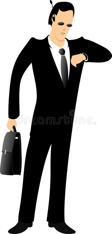 The broker. Is looking at a watch vector illustration