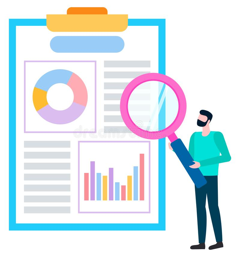 Broker Agent Analyzing Sales of Goods. Vector. Broker agent analyzing sales of goods. Person near board with charts and graphs, statistical data. Worker with vector illustration