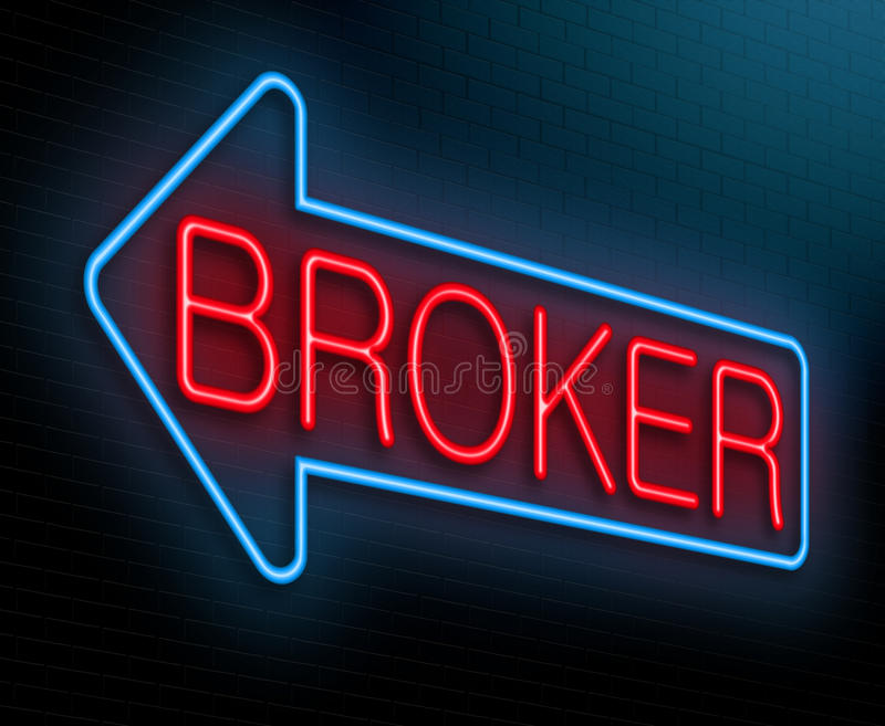 Broker concept. Illustration depicting an illuminated neon sign with a broker concept stock illustration