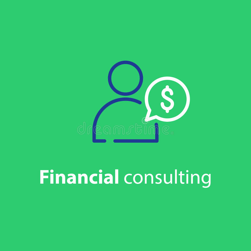 Broker consulting, financial advice, business man, investment service vector illustration