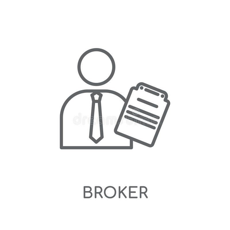 Broker linear icon. Modern outline Broker logo concept on white stock illustration