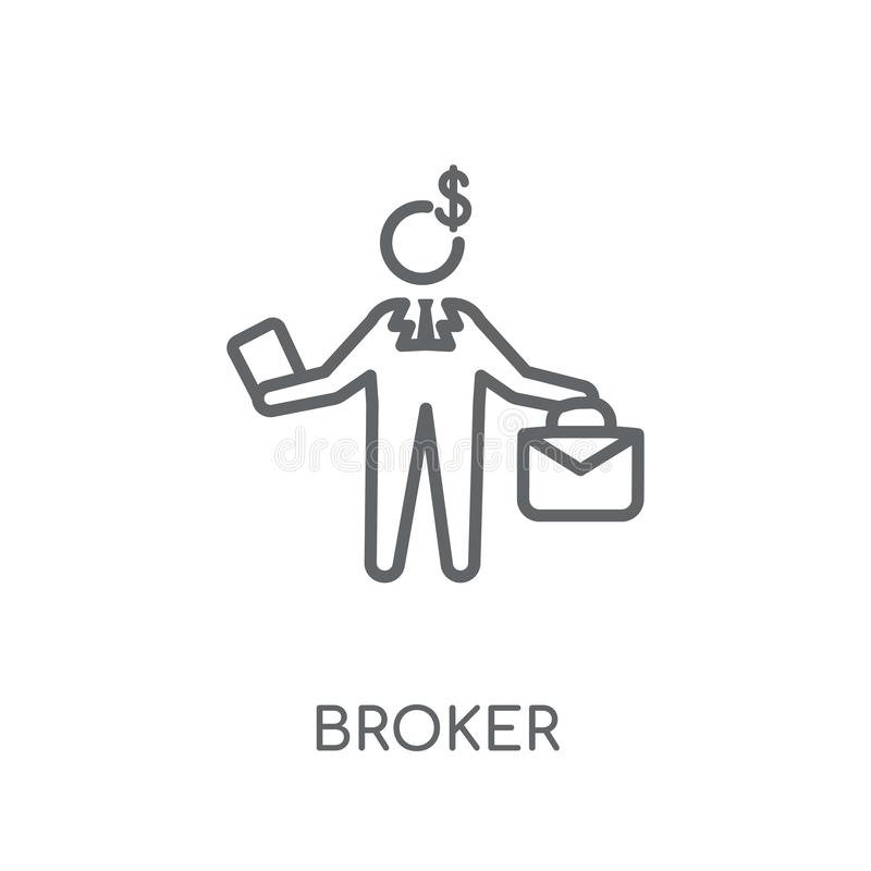 Broker linear icon. Modern outline Broker logo concept on white vector illustration